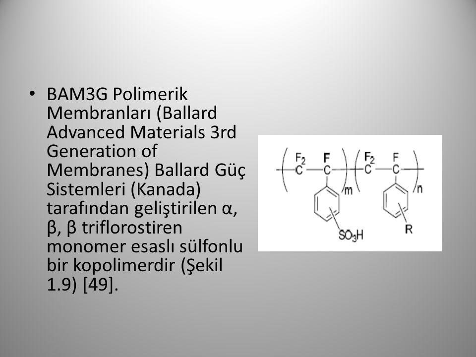 BAM3G Polimerik Membranları (Ballard Advanced Materials 3rd Generation of Membranes) Ballard Güç Sistemleri (Kanada) tarafından geliştirilen α, β, β triflorostiren monomer esaslı sülfonlu bir kopolimerdir (Şekil 1.9) [49].